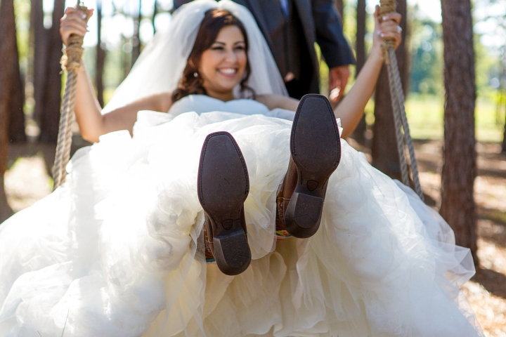 Houston Wedding Photographer, Crystal Springs, Magnolia, Texas, Rustic, Cowboy Boots, Swing, Trees