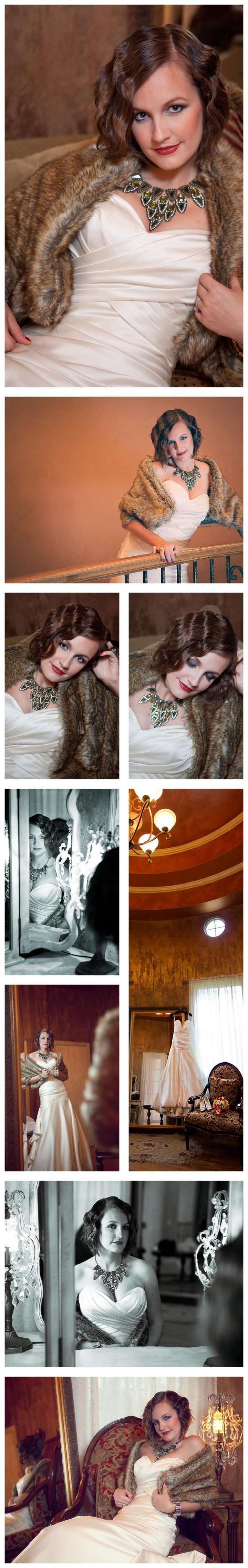 Chateau Polonez, C. Baron Photography, Great Gatsby, 20's inspired, bridals, fur, art deco jewelry, Houston Wedding Photographer