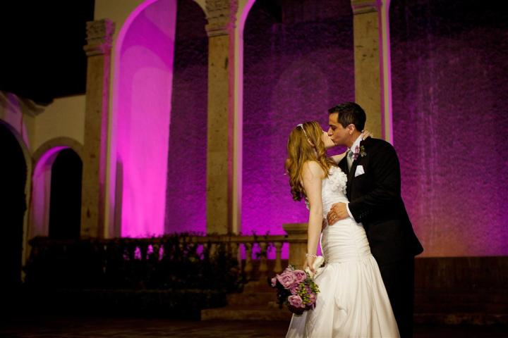 Bell Tower Water Wall Purple Strapless Kiss Houston Texas C Baron Photography