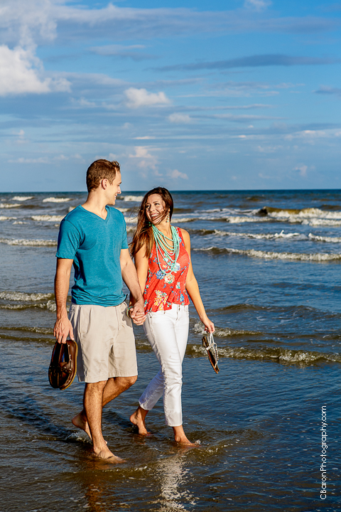 C. Baron Photography, Galveston Engagement Photographer, Galveston Wedding Photographer, beach, sand, seashells, seagulls, waves