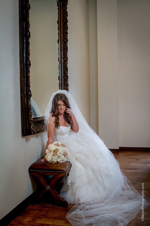 C. Baron Photography, Houston Wedding Photographer, Briscoe Manor, Richmond Texas, longhorn cattle, chapel, Paloma Blanca, cathedral veil, ruffled ballgown, cowboy boots