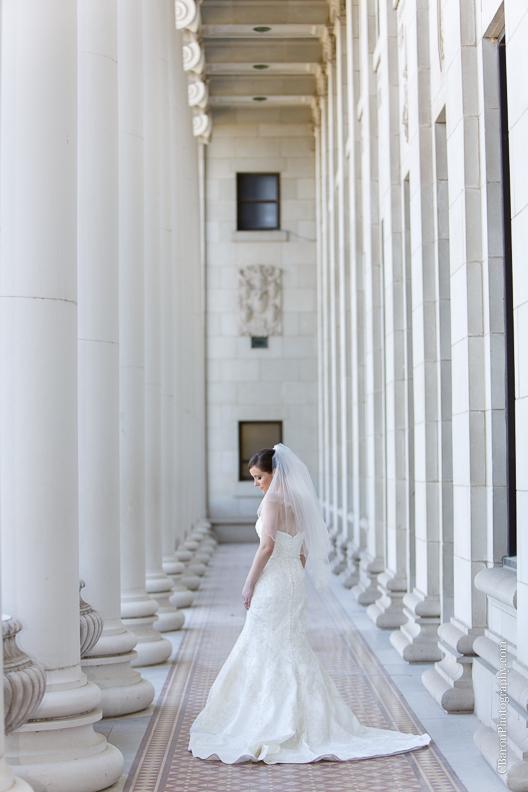 C. Baron Photography, Houston Wedding Photographer, College Station Wedding Photograher, College Station, Texas A&M, TAMU, fit and flare wedding gown, columns, marble, Oleg Cassini, gig 'em