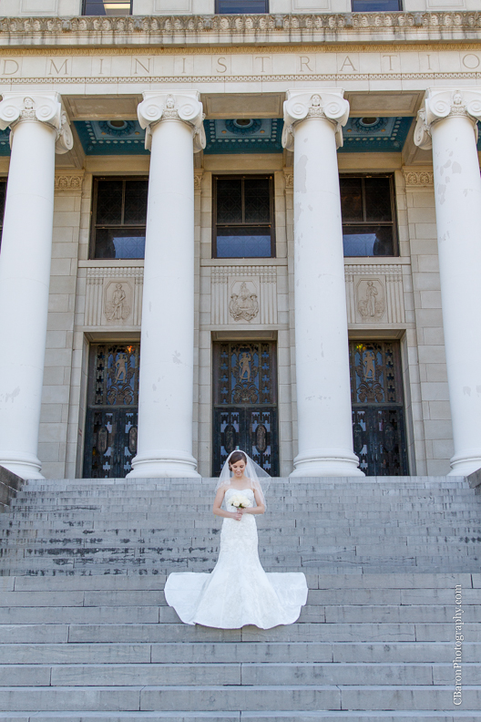 C. Baron Photography, Houston Wedding Photographer, College Station Wedding Photograher, College Station, Texas A&M, TAMU, fit and flare wedding gown, columns, marble, Oleg Cassini, gig 'em
