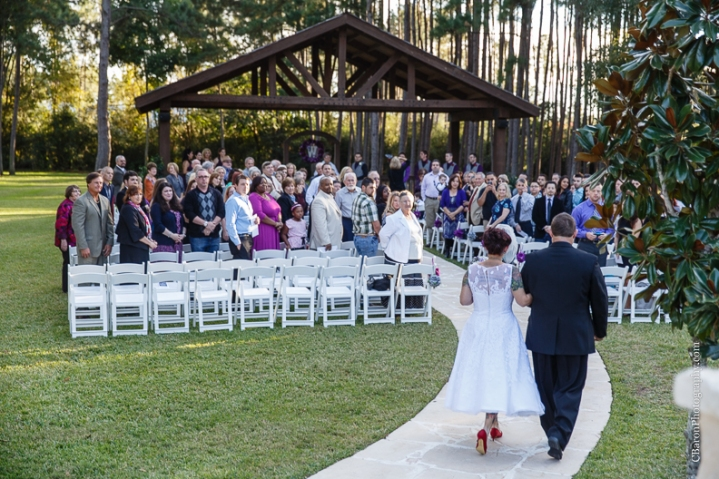 C. Baron Photography, Houston Wedding Photographer, Crystal Springs, Magnolia Texas, Magnolia Wedding Photographer, outdoor wedding, purple, red, Oleg Cassini, illusion neckline, tea length, tatoo, brooch bouquet, birdcage veil, rockabilly, edgy, sunset