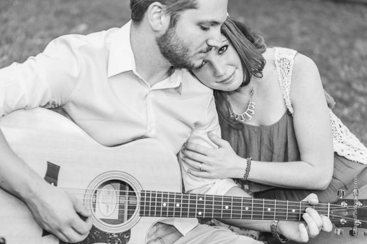 C. Baron Photography, Houston Engagement Photographer, Sesquicentennial Park, downtown, bohemian, floral headpiece, guitar, spring, waterfall, Buffalo Bayou