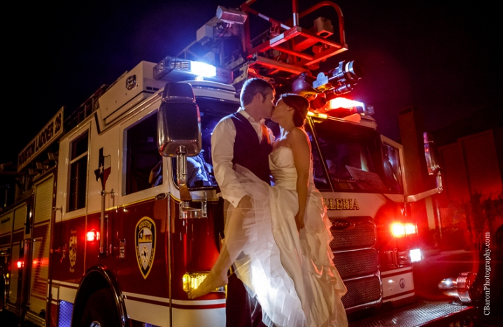 C. Baron Photography, Houston Wedding Photographer, The Gallery, couple, fire truck, HFD, black, white, white flowers, birdseed, first look, sunset, groom, bride, November, fall
