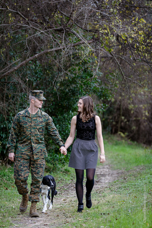 C. Baron Photography, Houston Engagement Photographer, park, boarder collie, dog, US Marine Corp, US Marines, utility uniform, fatigues, cap, trees, winter, ID tag