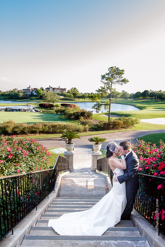 C. Baron Photography, Houston Wedding Photographer, Royal Oaks Country Club, Winnie Couture, spring, gold, groom, May, outdoor wedding, pink, purple, Royals Royce, wine, golf course, fit and flare gown, wine corks, first look, birdcage veil, bride, Texas
