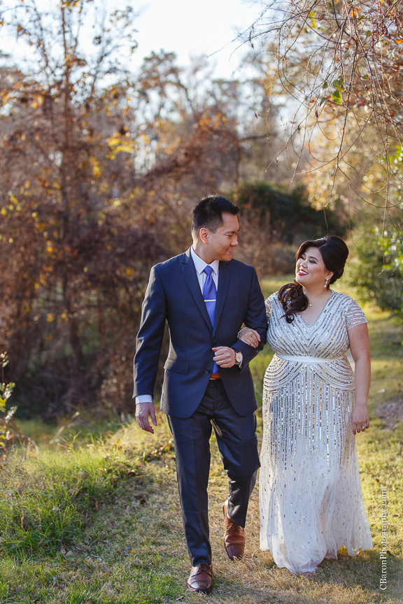 C. Baron Photography, Houston Wedding Photographer, Cypress Creek, day after session, engagement session, bride, groom, formal gown, Texas, trails, grass, trees, South Asian, sunset