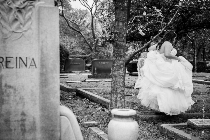 C. Baron Photography, Houston Wedding Photographer, Bridals, cemetery, Christmas, crypt, Nightmare Before Christmas, November, red roses, tombstone, Belle gown, trees, Floral Events, strapless