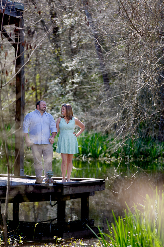 C. Baron Photography, Galveston Engagement Photographer, Houston Engagement Photographer, Clear Lake, afternoon, Armand Bayou Nature Center, nature, sunny, trees, pier, lake, turtles, couple