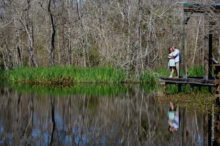C. Baron Photography, Galveston Engagement Photographer, Houston Engagement Photographer, Clear Lake, afternoon, Armand Bayou Nature Center, nature, sunny, trees, pier, lake, turtles, couple