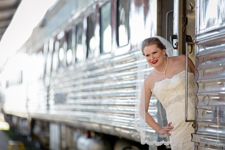 C. Baron Photography, bridals, formals, Galveston Railroad Museum, Galveston Wedding Photographer, Houston Wedding Photographer, trains, bouquet, Island Flowers, strapless, lace, lilies, orchids, Whittington Bridals, railroad car, veil