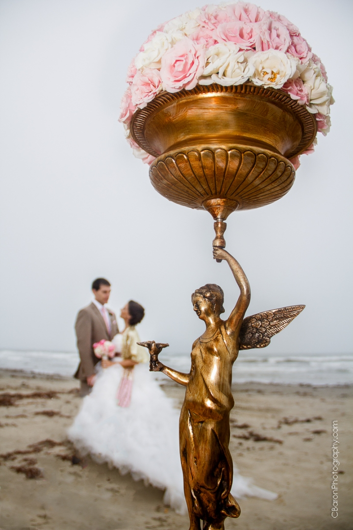 Galveston Wedding Photographer, elopement, Tremont House, Hotel Galvez and Spa, beach, waves, sand, pink, gold, shabby chic, seashells, groom, bride, Floral Events, seagulls. old doors, Style Me Pretty, C. Baron Photography, couple, Houston Wedding Photographer, ombre cake, Texas, high low hem, April, elope, Galvez, misty, roses, ranunculus, seawall, strapless, tulle, vintage