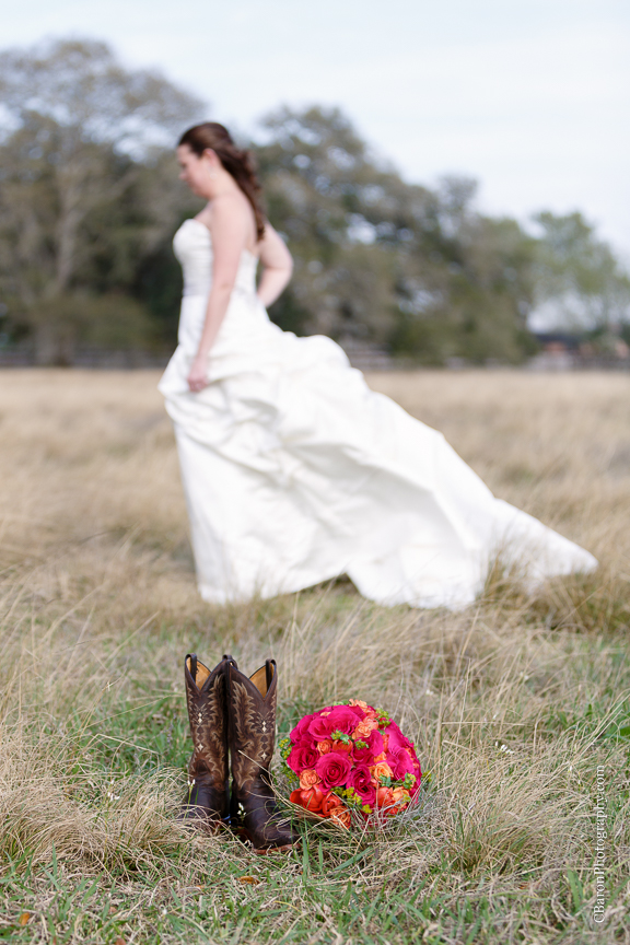 C. Baron Photography, Houston Wedding Photographer, Angleton Wedding Photographer, Brazos Springs, Out Under the Trees, bridals, strapless gown, red, orange, cowboy boots, fields veil, rustic, country, Texas