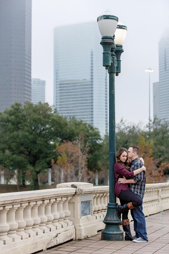 C. Baron Photography, Houston Engagement Photographer, bayou, bridge, cold, corgi, couple, December, dog, downtown, engagement, park, skyline, superhero