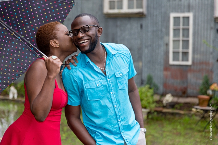 C. Baron Photography, Houston Engagement Photographer, Houston Wedding Photographer, Spring Engagement Photographer, African-American, couple, engagement session, Oak Tree Manor, chandelier, victrola, rainy, rainy day, umbrella, Texas