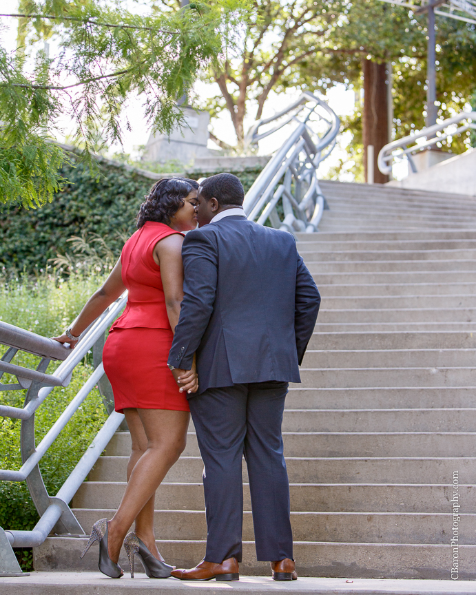 C. Baron Photography; Houston Engagement Photographer; School; bridge; downtown; urban;