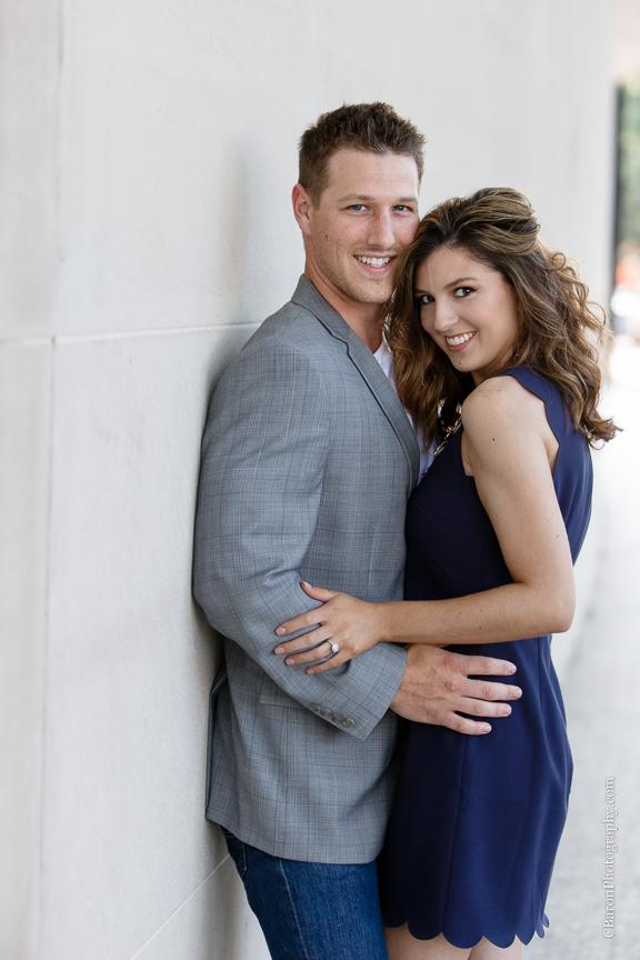 C. Baron Photography; Columns; Couple; Dressy; Engagement session; Houston Engagement Photographer; Houton; Museum District; Summer; Texas;