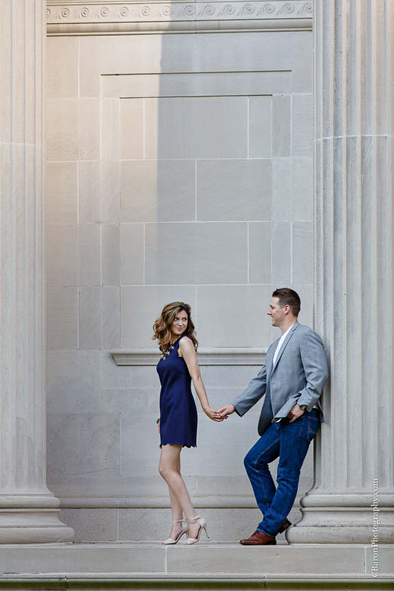 C. Baron Photography; Columns; Couple; Dressy; Engagement session; Houston Engagement Photographer; Houton; Museum District; Summer; Texas;