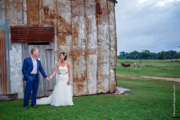 Bed & Breakfast; Brenham Wedding Photographer; C. Baron Photography; Country; Country Chic; Elopement; Gazebo; Homestead; Houston wedding PHotographer; Murski's; Old barn; Rustic; Shabby Chic; Vintage; blush; farm; lace; pink; rain; strapless gown;