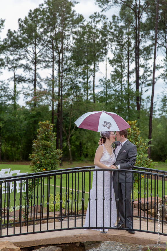 Aggies; C. Baron PHotography; Chandelier; Crystal Springs; First Look; Houston Wedding Photographer; Rain; Rainy Wedding; Southall; Texas A&M; War Hymn; Woodlands Wedding Photographer; bowtie; bride; couple; gray; grey; groom; lace gown;
