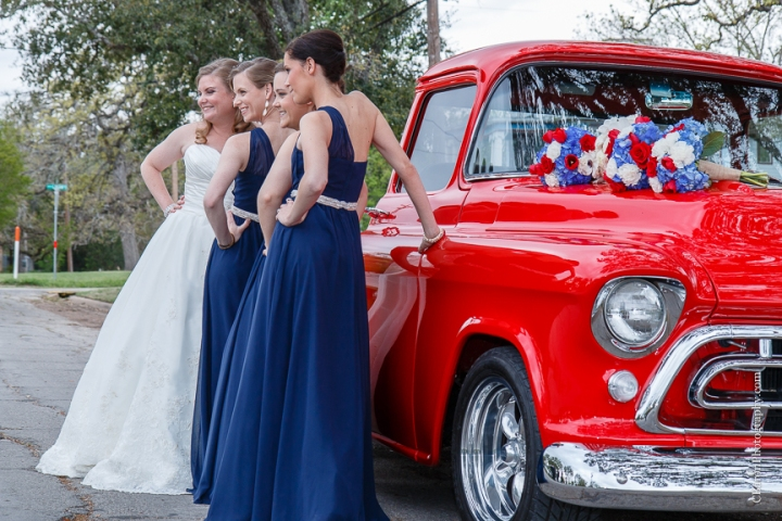 57 chevy; Aggie; Aggie War Hymn; Astin Mansion; Bride; Bryan; C. Baron Photography; Groom; Houston Wedding Photographer; National Guard; Navy; Old Truck; Red; Texas; Texas A&M; Wedding; White; blue; chalk art; couple; cowboy boots; strapless;