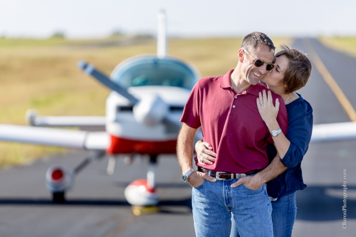 Antique Rose Emporium; Brenham; C. Baron Photography; Engagement; Houston Wedding Photographer; Texas; airplane; airport; pilot;