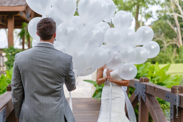 2014; Brookshire; C. Baron Photography; Houston Wedding Photographer; May; Pecan Springs; Texas; Wedding; balloons; blue; cupcakes; first look; outdoor ceremony; purple; strapless;