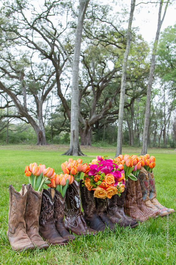 2014; Angleton; Brazos Springs; Bride; C. Baron Photography; Groom; Houston Wedding Photographer; March; Orange; Outdoor; Pink; Texas; Wedding; country; cowboy boots; live oaks;