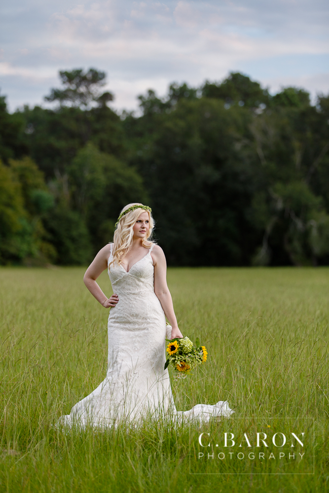 C. Baron Photography; Crown; Crystal Springs; Lace; Natural; Woodlands Wedding Photographer; bridals; sunflowers;