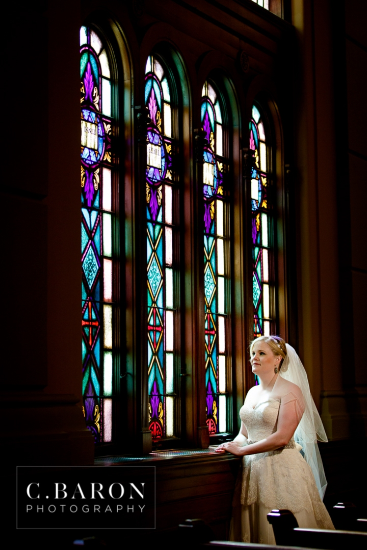 Aggies; Bridals; C. Baron Photography; Houston; Houston Wedding Photographer; Maroon shoes; South Main Baptist church; Texas; old church; stained glass;