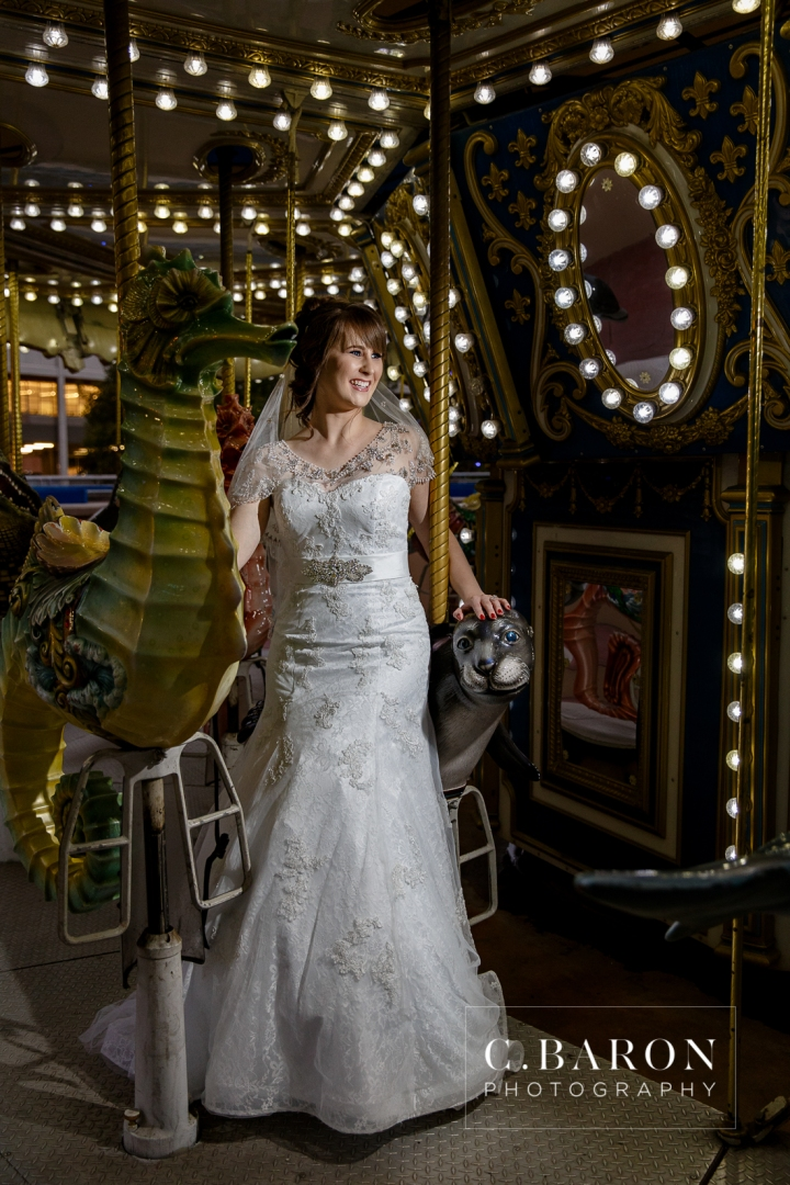 Ballroom; Bridals; C. Baron PHotography; Downtown Aquarium; Fish; Formals; Houston Bridals Photographer; beaded cape; carousel; downtown skyline; ferris wheel; merry-go-round;