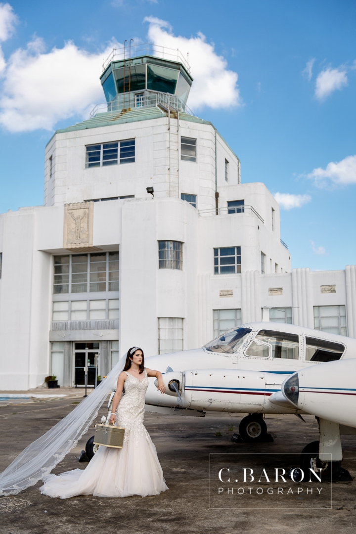 1940 Air Terminal Museum; Airplane; Airport; C. Baron Photography; Gold; Headband; History; Hobby; Houston wedding Photographer; IAH; LJ Flower Co; Negative Space; Old suitcase; Runway; SE Texas; Stephanye Lynn Events; Texas; art deco; aviation; cakes by gina; hangar; houston; lavender; matte gold sequin; navy; silverbox secrets; something blue bridal;