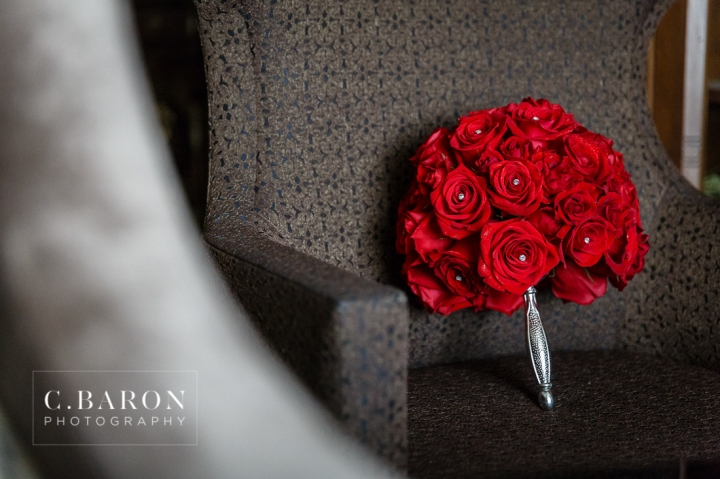 Al Capone Suite; Bride; C. Baron Photography; Couple; Dubuque; Groom; Hotel Julien; Houston Wedding Photographer; Iowa; Main Street; Red; Roses; Wedding; black; white;