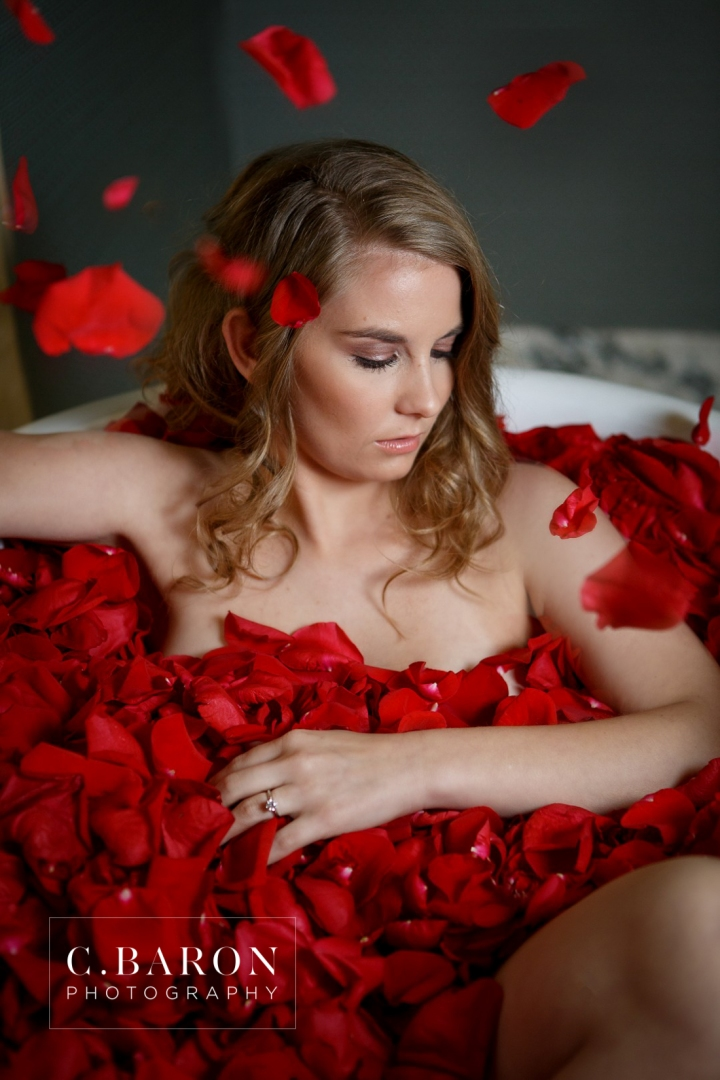 2013; 30's fashion; 40's glam; C. Baron Photography; Houston Boudoir photographer; October; boudoir; bridal; bride; claw foot tub; gift; hotel icon; petals; red; roses; veil;