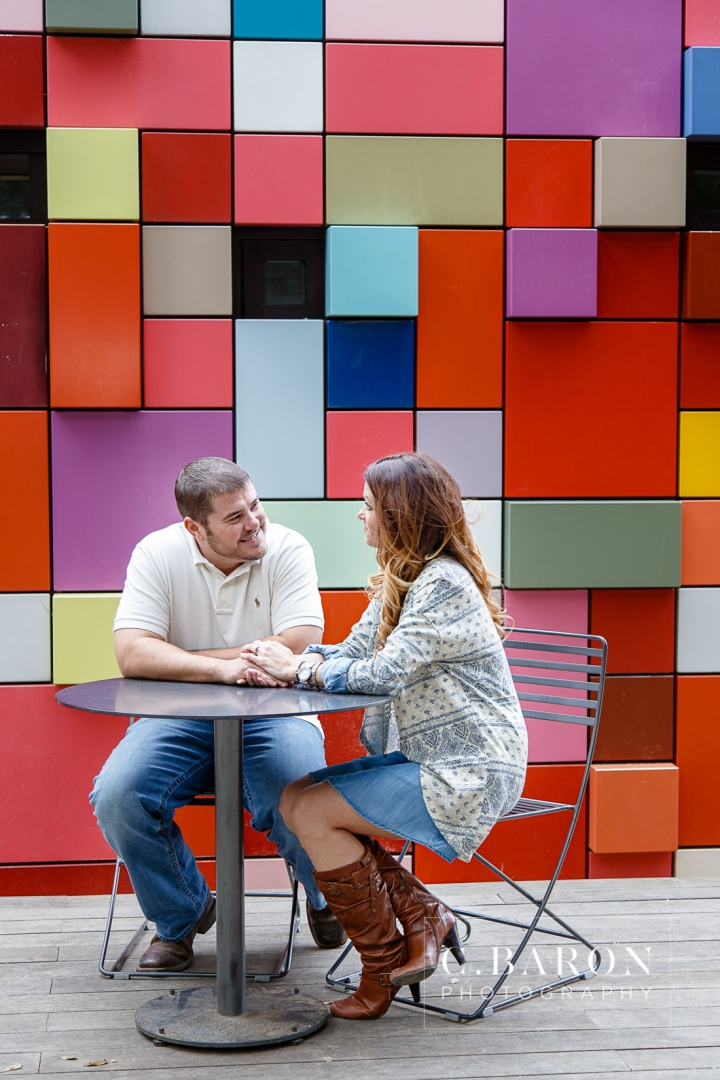 C. Baron Photography; Color Block Wall; Discovery Green; Downtown; Houston Engagement Photographer; Park; Winter; couple;