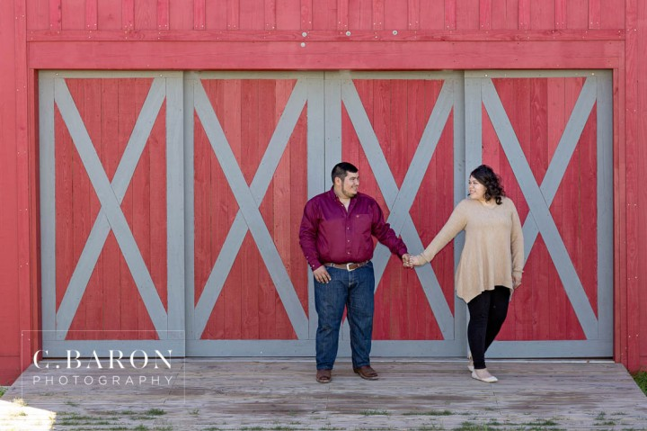 Barn; C. Baron Photography; Cocker Spaniel; Dog; E-session; Engagement; Houston Engagement Photographer; Maroon; Red; Rustic; Texas; afternoon; crimson; farm; goats; holiday; houston; trees; winter;