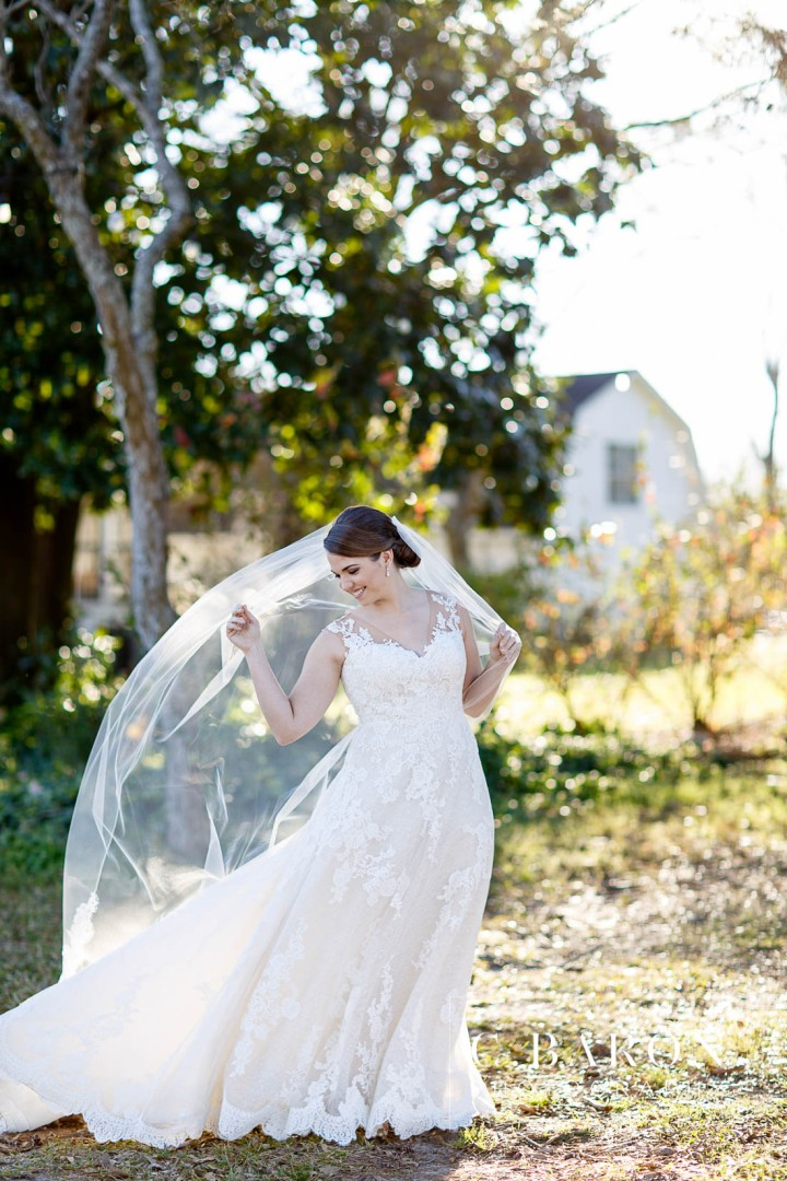 Bridals; C. Baron Photography; Houston Wedding PHotographer; Spring; Texas; Tomball; chandelier Grove; farmstead; illusion lace; veil;