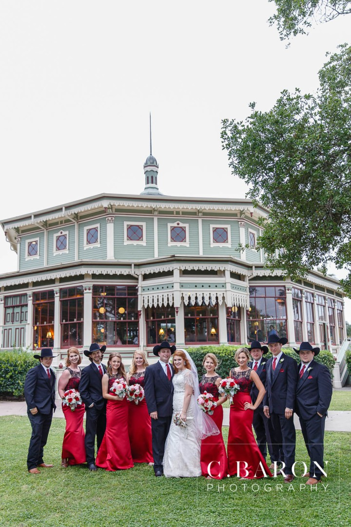 Beaded capelet; C. Baron Photography; Central Christian Church; Galveston; Galveston Wedding Photographer; Garten Verein; Gold; Groom; Historical building; Horse Carriage; Impression Bridal; Island; Red Roses; Rose Petal Leave; Spring; Texas; blush lace gown; bride; cowboy hat;