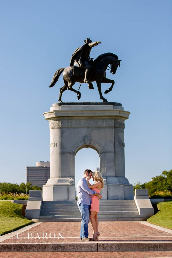 C. Baron Photography; Engagement; Fountain; Hermann Park; Houston Engagement Photographer; Summer; Sunset; bridge; couple; live oak; pond;
