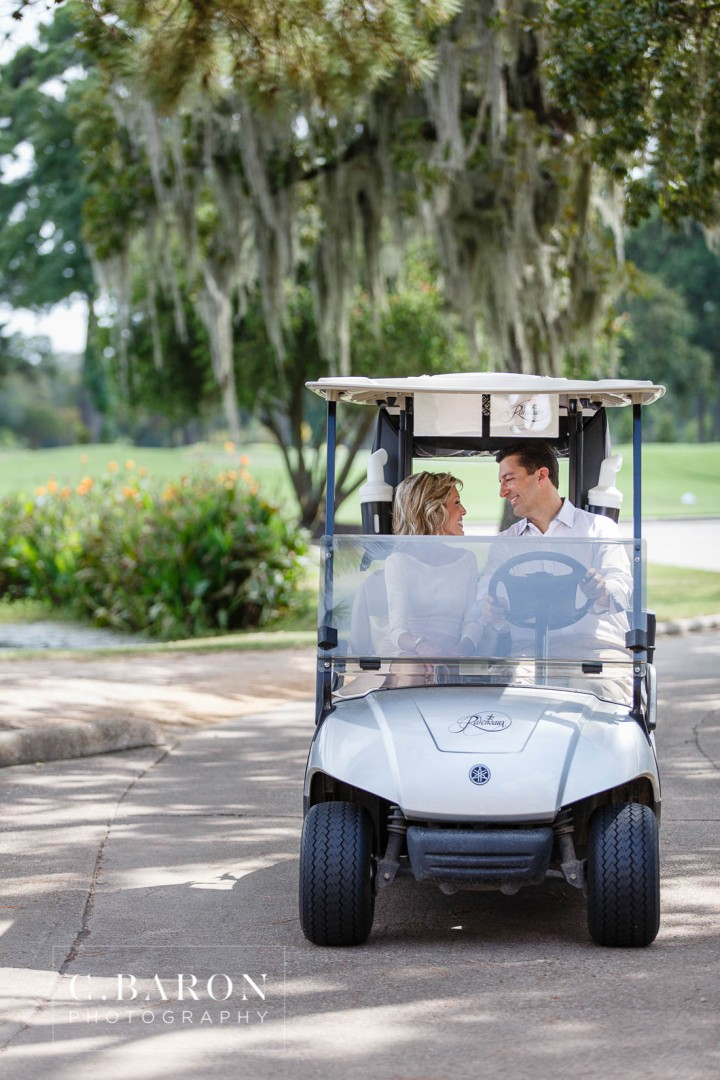 C. Baron Photography; Engagement session; Golf Cart; Houston Texas; Houston wedding Photographer; Raveneaux Country Club; afternoon; golf course; summer;