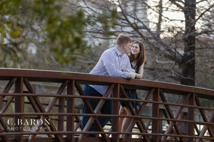 Bridge; C. Baron Photography; Grass; Hermann Park; Houston Engagement Photographer; Houston Texas; reflection pond; sunny afternoon;
