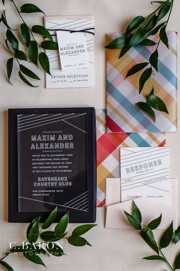 #RainCantStopLove; A finer Event; Acrylic invitations; Bow ties; C. Baron Photography; Golf Cart; Greenery; Houston Texas; Houston wedding Photographer; Icing the Event; LGBT Friendly; Lattice Backdrop; Lucite; Madras; Modern Preppy; Outdoor Ceremony; Petite Sweets; Plaid; Polished Weddings; Raveneaux Country Club; Same Sex; Sweets; The Red Experience; Van Horn Hayward Lucite Tower; bowtie; donut; doughnut; golf course; rain;