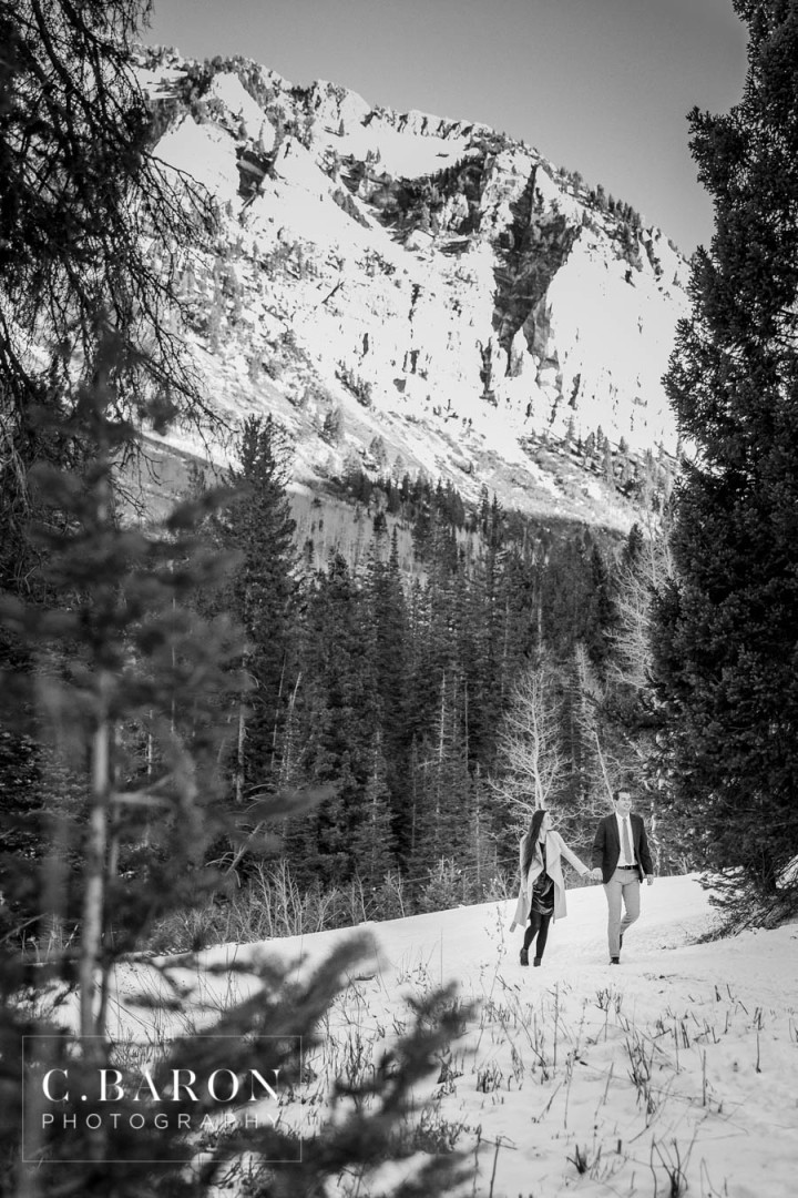 C. Baron Photography; Cottonwood Canyon; Destination Engagement Photographer; Destination Wedding Photographer; Engagement session; Houston Engagement Photographer; Houston wedding Photographer; Mountains; Nature; Salt Lake City; snow; winter; winter landscape; winter time;