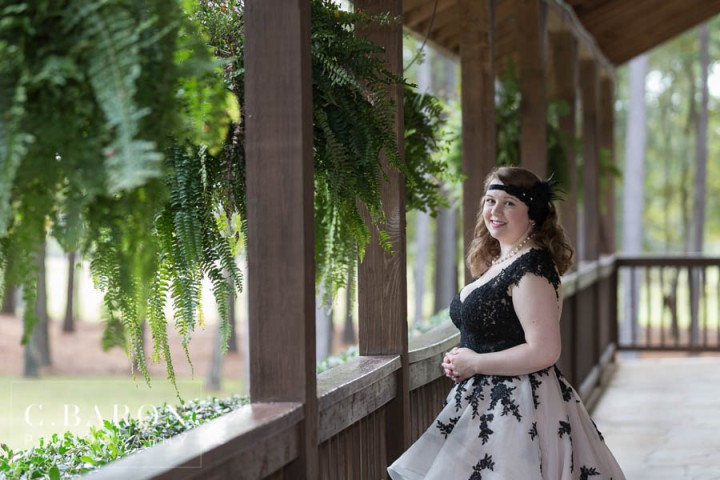 C. Baron Photography; Fall; Houston Bridals Photographer; Magnolia Texas; The Springs - The Woodlands; Wedding gown with black lace; Woodlands Wedding Photographer; black and white wedding dress;