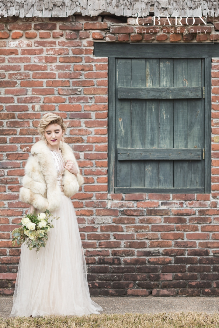 Boho bride; C. Baron Photography; Celebrating; Champagne; Confetti; Glitter; Gold; Happy Bride; Houston's Best Photographer; New Years Eve; Sequins; Sparkly. vintage fur stole; Texas wedding photographer; floppy hat; fox wrap; protea; velvet gown; winter;