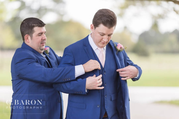C. Baron Photography; Gold; Houston wedding Photographer; Ivory; Moffitt Oaks; Old Stable; Outdoor Ceremony; Pink; Rustic Venue; Sparkler Exit; Sparklers; Spring; Texas Weddings; Tomball Texas; ballgown; blue suit; blush;