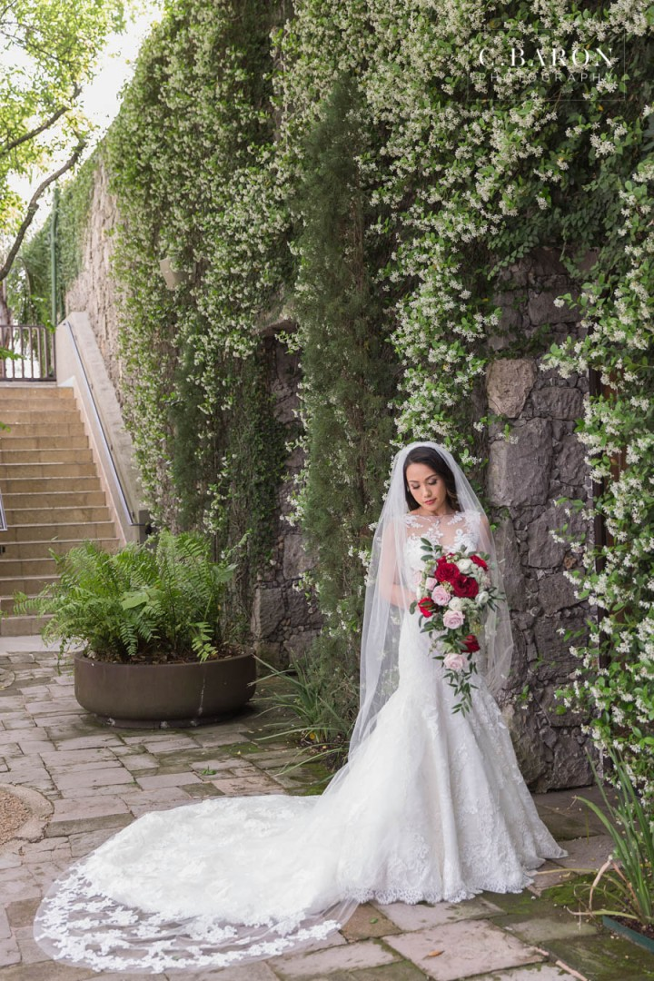 Bell Tower on 34th; Bridals; C. Baron Photography; Cascade Bouquet; Cathedral Veil; Formals; Houston wedding Photographer; Spring; red roses;