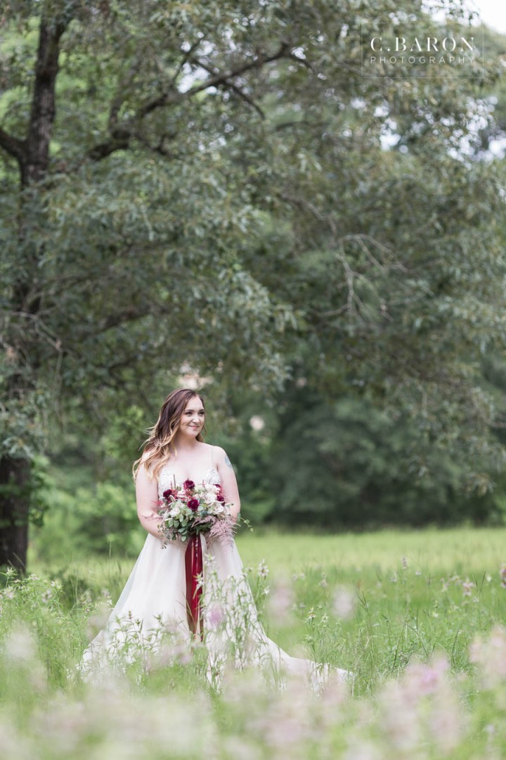Bridals; Bridals Photographer; Bride with a horse; C. Baron Photography; Country; Cowboy boots; Formals; Houston Texas area; Montgomery County; Red Roan Horse; Rustic; Texas Bridals; Wedding Photographer;